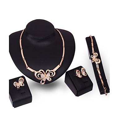 Σετ Κοσμημάτων Πανκ Στυλ Κράμα Animal Shape Πεταλούδα Χρυσό 1 Κολιέ 1 Ζευγάρι σκουλαρίκια 1 Βραχιόλι Δακτυλίδια Για Γάμου Πάρτι Καθημερινά