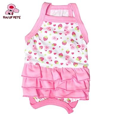 고양이 개 드레스 레드 화이트 핑크 강아지 의류 여름 모든계절/가을 과일 귀여운 생일 휴일