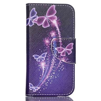 mintás bőr pénztárca telefon esetében ipod touch 5/6 állvánnyal - lila pillangó
