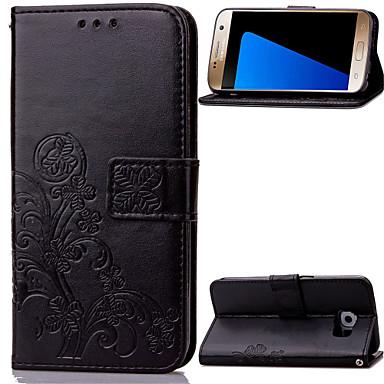 Недорогие Чехлы и кейсы для Galaxy Note 3-Кейс для Назначение SSamsung Galaxy Note 5 / Note 4 / Note 3 Кошелек / Бумажник для карт / со стендом Чехол Цветы Кожа PU
