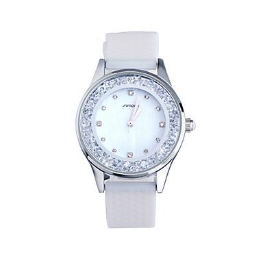 SINOBI Dames Zwevende kristallen horloge Modieus horloge Vrijetijdshorloge Kwarts Waterbestendig Silicone Band Elegant Wit