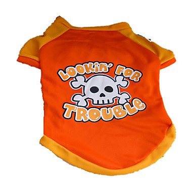 Cachorro Camiseta Roupas para Cães Caveiras Laranja Náilon Ocasiões Especiais Para animais de estimação