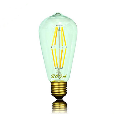 6 W 500-600 lm B22 E26 E26/E27 LED gömbbúrás izzók ST64 8 led COB Tompítható Dekoratív Meleg fehér AC 220-240V AC 110-130V