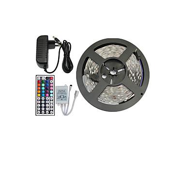 5m Flexible LED-Leuchtstreifen / Lichtsets / Leuchtbänder RGB LEDs 5050 SMD RGB Fernbedienungskontrolle / Schneidbar / Abblendbar 12 V / Verbindbar / Selbstklebend / Farbwechsel / IP44