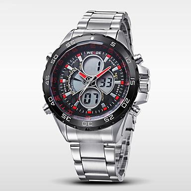 저렴한 남성용 시계-WEIDE 남성용 손목 시계 디지털 시계 석영 디지털 일본 쿼츠 스테인레스 스틸 실버 30 m 방수 알람 달력 아날로그-디지털 참 - 레드 블루 실버 / 블랙 2 년 배터리 수명 / 크로노그래프 / LCD / 듀얼 타임 존 / Maxell626 + 2025