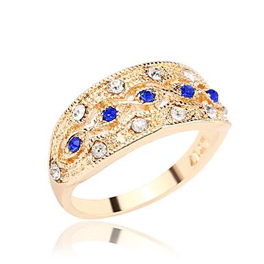 نساء خاتم حجر الراين ترف أسلوب بسيط حجر الراين تصفيح بطلاء الفضة مطلية بالذهب تقليد الماس سبيكة مجوهرات من أجل يوميا فضفاض