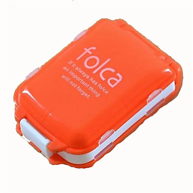 Mini Portable Folding with Three Separate Sections of Eight Grid Medicine Drug Pill Box Storage Container Random Color