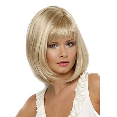 Peruci Sintetice Drept Stil Tunsoare Bob Fără Calotă Perucă Blond