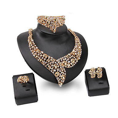 Σετ Κοσμημάτων Στρας Μοντέρνα Πεπαλαιωμένο Εξατομικευόμενο Euramerican Κοσμήματα με στυλ Στρας Κράμα Κοσμήματα Χρυσό1 Κολιέ 1 Ζευγάρι