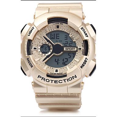 levne Pánské-Pánské Sportovní hodinky Náramkové hodinky Digitální Z umělé kůže Stříbro / Zlatá / Růžové zlato 30 m Voděodolné Alarm Kalendář Digitální Bronzová Zlatá Světle hnědá Dva roky Životnost baterie