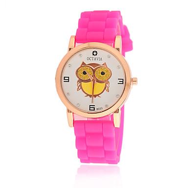 여성용 패션 시계 석영 실리콘 밴드 카툰 블랙 화이트 블루 레드 핑크 퍼플 노란색 로즈