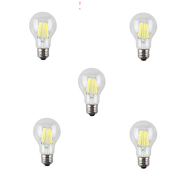 HRY 5pcs 7W 3000/6500 lm E26/E27 LED필라멘트 전구 A60(A19) 8 LED가 고성능 LED 장식 따뜻한 화이트 차가운 화이트 AC 220-240 V