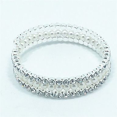 Bedelarmbanden / Bangles / Tennis Armbanden / Wikkelarmbanden 1 stuks,Zilver Armbanden Parel / Zirkonia Sieraden Dames