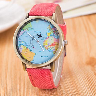 للرجال كوارتز ساعة المعصم ساعة فستان ساعة رياضية طرد كبير القماش فرقة سحر خريطة العالم نمط موضة متعدد الألوان