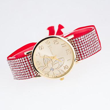 아가씨들 패션 시계 모조 다이아몬드 시계 석영 섬유 밴드 블랙 화이트 블루 레드 브라운 그린 핑크 퍼플 베이지 로즈