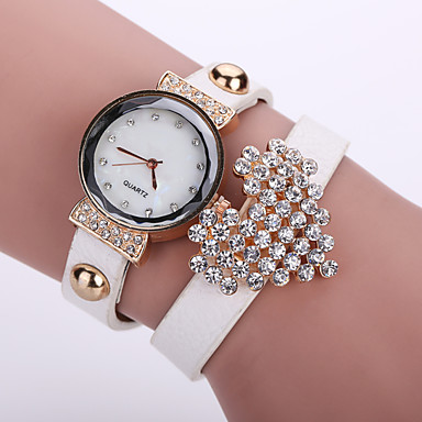 Mulheres Bracele Relógio Relógio Casual Couro Banda Flor / Fashion Preta / Branco / Azul
