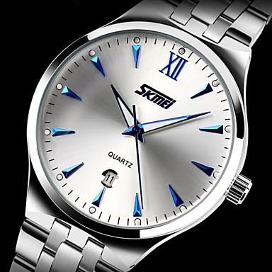 SKMEI Bărbați Quartz Quartz Japonez Ceas Elegant  Calendar Rezistent la Apă Iluminat Oțel inoxidabil Bandă Lux Argint