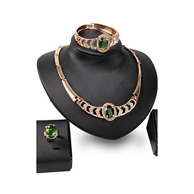 Pentru femei Ștras Ștras Altele Set bijuterii Inele / 1 Colier / 1 Pereche de Cercei - Personalizat / Declarație / Euramerican Circle