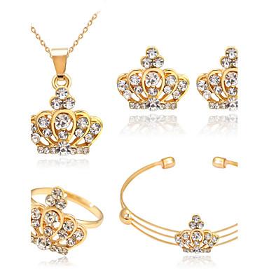 Női Strassz Rózsa arany bevonattal Crown Shape Ékszer szett Gyűrűk Naušnice Nyakláncok Karkötő - Bájos Party Crown Shape Aranyozott