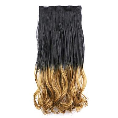 검은 색과 갈색 길이 60cm 합성 그라데이션 5 장의 카드 머리 긴 직선 머리 가발 (색상 blackt27)