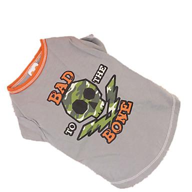 Hond T-shirt Hondenkleding Doodskoppen Grijs Katoen Kostuum Voor huisdieren Cosplay