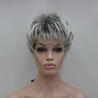 Συνθετικές Περούκες Ίσιο Πυκνότητα Χωρίς κάλυμμα Γκρι Καρναβάλι περούκα Απόκριες Περούκα Συνθετικά μαλλιά