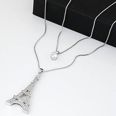 cheap Necklaces-Women's Cubic Zirconia tiny diamond Pendant Necklace Layered Necklace Long Necklace Long Tower Eiffel Tower Ladies Vintage Double-layer Fashion Zircon Cubic Zirconia Rhinestone Silver Necklace Jewelry