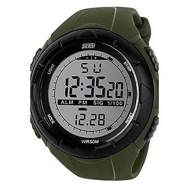זול שעוני גברים-SKMEI בגדי ריקוד גברים שעון דיגיטלי שעון יד שעוני ספורט דיגיטלי Alarm לוח שנה כרונוגרף עמיד במים שעון עצר LCD זורח גומי להקה קסם שחור ירוק