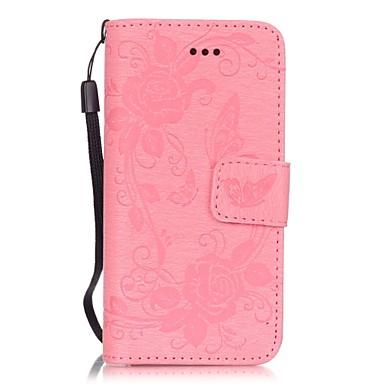 아이폰에 대한 카드 슬롯 PU 가죽 양각 나비 꽃 패턴 단색 지갑 케이스는 5 초 5 SE는