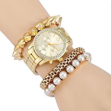 Női Divatos óra Szimulált Gyémánt Karóra Kvarc Alkalmi óra ötvözet Zenekar Luxus Arany