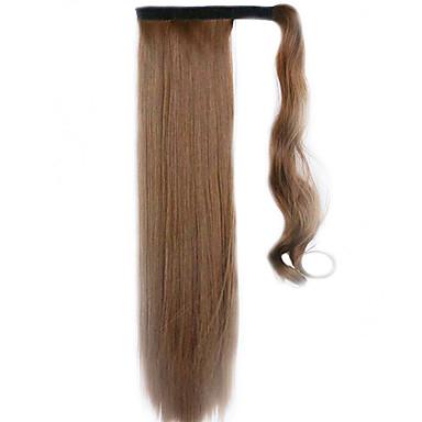 barna 60cm szintetikus magas hőmérsékletű vezetékes paróka egyenes haj lófarok szín 12