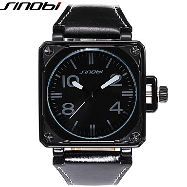 levne Pánské-SINOBI Pánské Sportovní hodinky Vojenské hodinky Náramkové hodinky Křemenný Kůže Černá 30 m Voděodolné Odolný vůči nárazu Cool Analogové Luxus - Černá Hnědá Bronzová Dva roky Životnost baterie