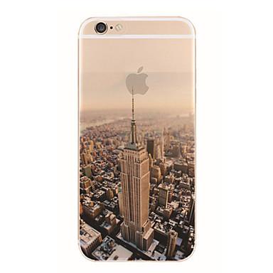 Capinha Para Apple Capinha iPhone 5 iPhone 6 iPhone 6 Plus iPhone 7 Plus iPhone 7 Translúcido Estampada Capa traseira Vista da cidade