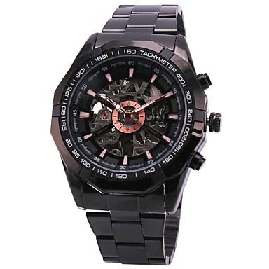 WINNER Herrn Armbanduhr / Mechanische Uhr Transparentes Ziffernblatt Edelstahl Band Luxus Schwarz / Automatikaufzug