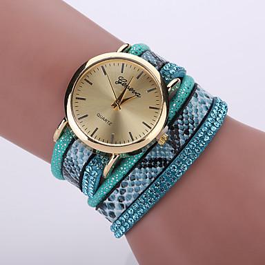 여성용 패션 시계 손목 시계 팔찌 시계 석영 / 가죽 밴드 매트한 블랙 보헤미안 멋진 블랙 화이트 블루 레드 핑크 퍼플