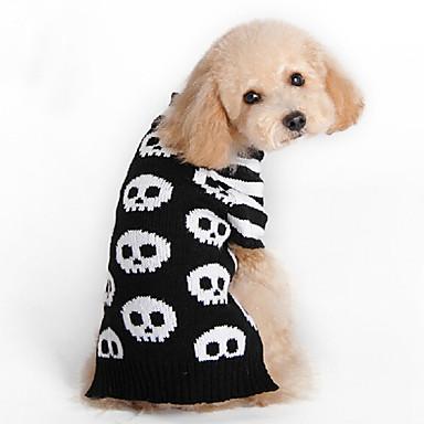 고양이 강아지 스웨터 강아지 의류 패션 할로윈 해골 블랙 코스츔 애완 동물