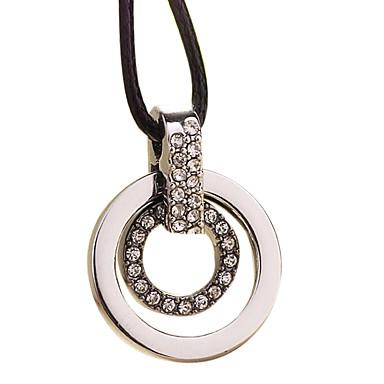 rozsdamentes acél - kör gyémánt nyaklánc