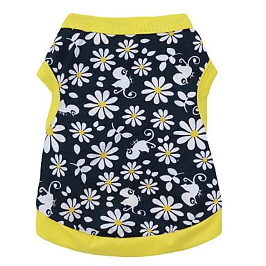 Kot Psy T-shirt Ubrania dla psów Kwiatowy / Roślinny Czarny / Żółty Bawełna Kostium Na Lato Męskie Damskie Moda