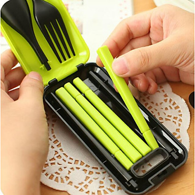 Travel Folding Portable Tableware Suit Combinations Spoon Fork Chopsticks Three-piece 78g 크리 에이 티브 주방 가젯 / 다기능 플라스틱 측정 컵 & 스푼