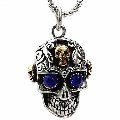 z011 Európában és az Egyesült Államokban a külkereskedelem, a kék szem koponya titán acél nyaklánc (kivéve lánc)