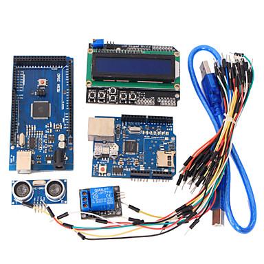 tanulási eszközök mega 2560 r3 board + ethernet W5100 + relé + kenyérvágódeszka kábel + hc-sr04 érzékelő készlet Arduino