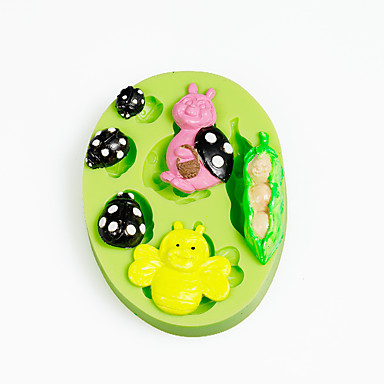 peapod baba ladybirds szilikon öntőforma csokoládé polimer agyag sugarcraft eszközök torta dekorációk penész színe véletlenszerű