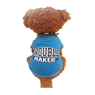 Cachorro Camiseta Roupas para Cães Carta e Número Preto e Azul Algodão Ocasiões Especiais Para animais de estimação