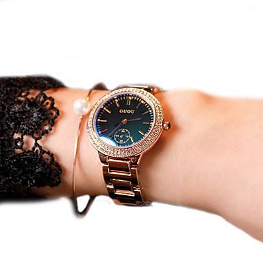 여성용 패션 시계 팔찌 시계 모조 다이아몬드 시계 석영 일본 쿼츠 캐쥬얼 시계 가죽 밴드 스파클 골드