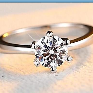 Női Band Ring Arany Fehér Ezüst Cirkonium Kocka cirkónia Hamis gyémánt Hatágú Klasszikus Alkalmi Divat Esküvő Eljegyzés Napi Hétköznapi