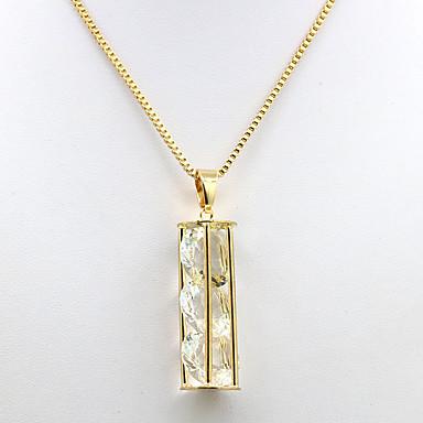 ieftine Colier la Modă-Pentru femei Zirconiu Cubic 3 piatră Coliere cu Pandativ Zirconiu Placat Auriu femei Modă Auriu Coliere Bijuterii Pentru Zilnic Dată