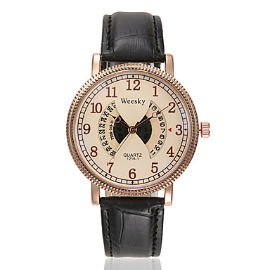 커플용 패션 시계 캐쥬얼 시계 석영 디지털 PU 밴드 블랙 브라운