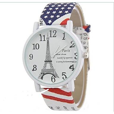 여성용 패션 시계 석영 캐쥬얼 시계 합금 밴드 에펠탑 멋진 화이트 블루 레드 브라운