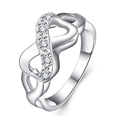 Women's Crossover Band Ring - Sterling Silver Infinity Personalized, Cross, Fashion 6 / 7 / 8 / 9 / 10 Silver For Wedding Party Daily / Cubic Zirconia
