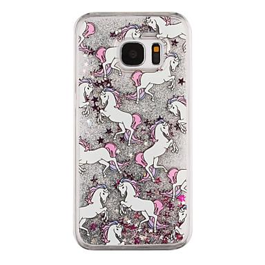 케이스 제품 Samsung Galaxy Samsung Galaxy S7 Edge 플로잉 리퀴드 투명 패턴 뒷면 커버 동물 하드 PC 용 S7 edge S7